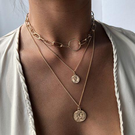 nouveau produit accessoires créatif multi-couche collier pendentif mode populaire pièce collier vente chaude en gros nihaojewelry NHMD238155's discount tags