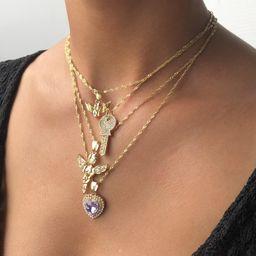 Moda retro estrella de mar en forma de candado collar de múltiples capas en relieve alas exquisito collar clave NHMD238172