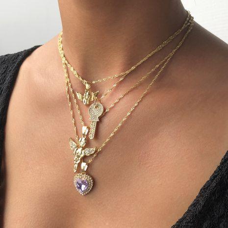 Collier multicouche étoile de mer en forme de serrure rétro avec ailes en relief collier clé exquis NHMD238172's discount tags