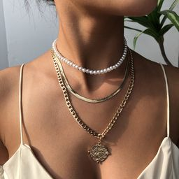 Moda venta caliente accesorios collar moneda aleación colgante moda collar de múltiples capas para mujeres venta al por mayor nihaojewelry NHMD238173