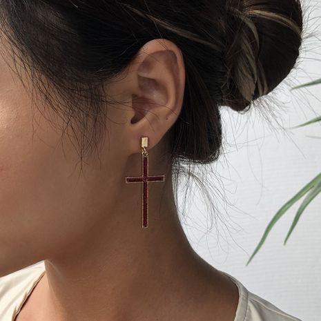 simple nouveau alliage croix boucles d'oreilles simples boucles d'oreilles tendance exagérées en gros nihaojewelry NHMD238180's discount tags