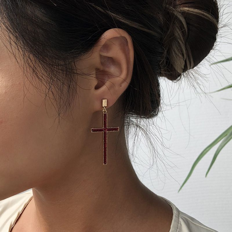 simple new alloy  cross  simple earrings exaggerated trend earrings wholesale nihaojewelry NHMD238180