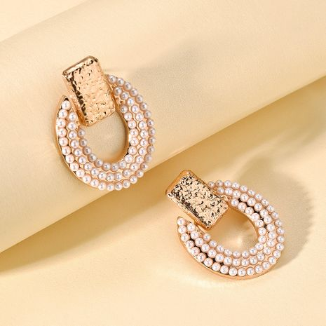 New round alloy ear accessories inlaid pearl earrings geometric earrings for women hot sale wholesale nihaojewelry NHMD238184's discount tags