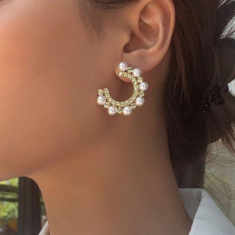 Fashion hot sale simple C-shaped diamond pearl earrings for women fairy earrings alloy earrings wholesale nihaojewelry NHMD238186's discount tags