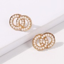 Fashion trend doublewrapped round ring pearl earrings fashion small circle square earrings for women nihaojewelry NHMD238188
