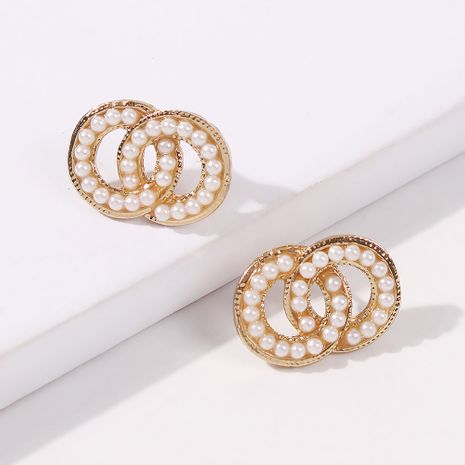 Fashion trend double-wrapped round ring pearl earrings fashion small circle square earrings for women nihaojewelry NHMD238188's discount tags