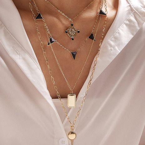 nouvelle personne tête soleil fleur collier multicouche triangle rectangulaire collier en gros nihaojewelry NHGY238196's discount tags
