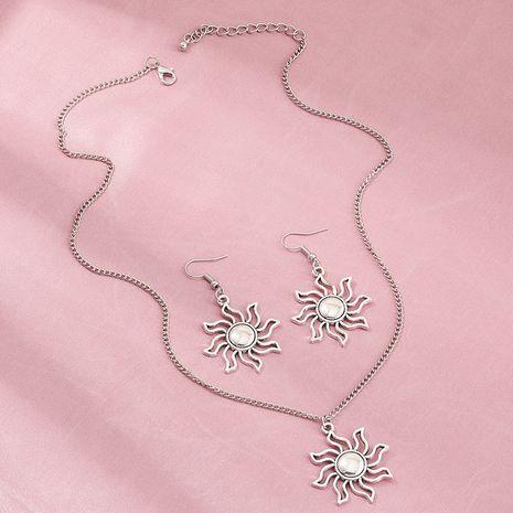 fashion  retro silver sun flower necklace punk hip hop earrings set wholesale nihaojewelry NHNZ238215's discount tags