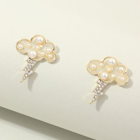 jewelry niche fun pearl cloud diamond lightning design earrings wholesale nihaojewelry NHNZ238217's discount tags