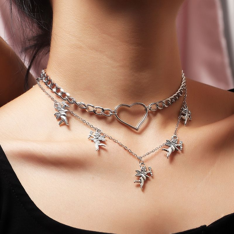 jewelry hot selling hollow love necklace popular little angel necklace wholesale nihaojewelry NHNZ238222