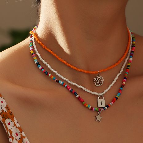 jewelry Bohemian style color rice bead necklace personalized flower star necklace wholesale nihaojewelry NHNZ238224's discount tags