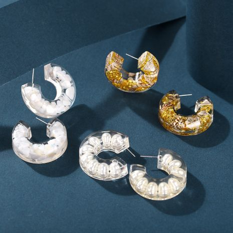 Fashion New White Epoxy Semicircle Inlaid Earrings Simple Letter C-shaped Earrings Acrylic ear accessories nihaojewelry NHPJ238227's discount tags