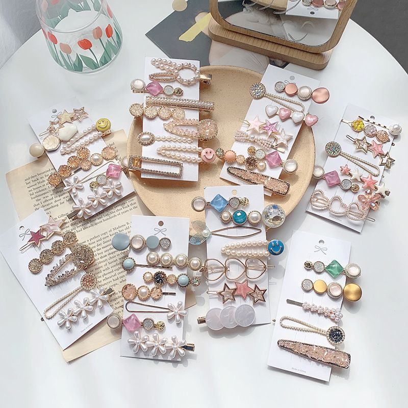 Korean hairpin bangs top clip pearl hairpin Sen fairy super fairy clip set wholesale nihaojewelry NHOF238235