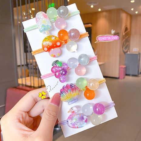 Fashion cute headdress candy color children's hair rope children head rope cartoon tie hair rubber band ball crystal hair accessory NHNA238246's discount tags