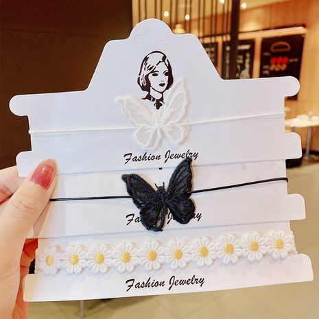 New clavicle chain butterfly necklace lace black and white two colors optional handmade necklace wholesale nihaojewelry NHNA238249's discount tags