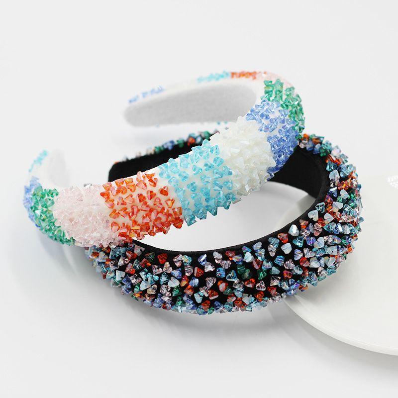 Nouveau bandeau de couleur cristal de mode accessoires de cheveux ponge sauvage pour dames bandeau dcontract NHWJ238259