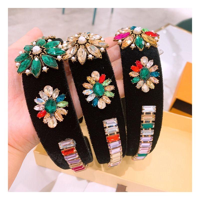 baroque large rhinestone flowers velvet comfortable hair band  wholesale nihaojewelry NHHD238264