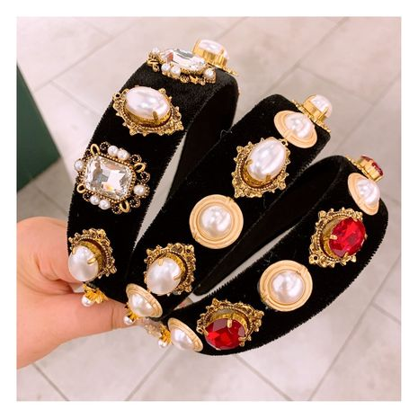 original retro gemstone cream bead opal rhinestone velvet widened style headband wholesale nihaojewelry NHHD238266's discount tags