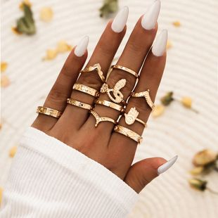 Fashion geometric shape rings serpentine V-shaped 11-piece set ring alloy rings simple exquisite rings set NHPV238293's discount tags