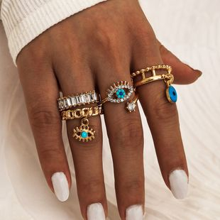 Fashion new punk street style demon eye diamond dripping oil hollow 4-piece ring alloy rings wholesale nihaojewelry NHPV238295's discount tags