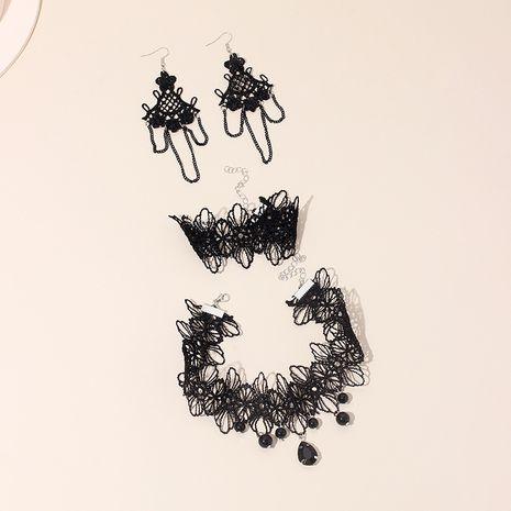Corée style gothique noir dentelle fleur gland boucles d'oreilles collier bracelet ensemble pour les femmes en gros NHRN238319's discount tags