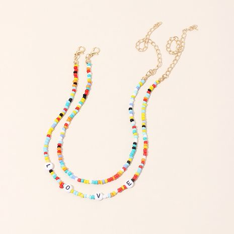 fashion retro ethnic style necklace simple and sweet LOVE letter rice beads short double layer necklace wholesale nihaojewelry NHRN238320's discount tags