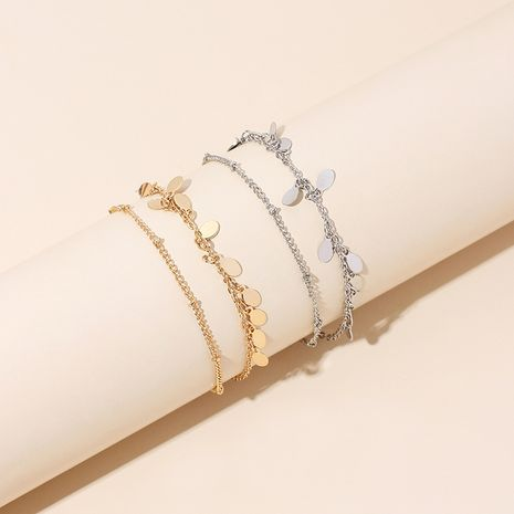 Korean simple golden bohemian double-layer beach chain anklet  wholesale nihaojewelry NHRN238321's discount tags