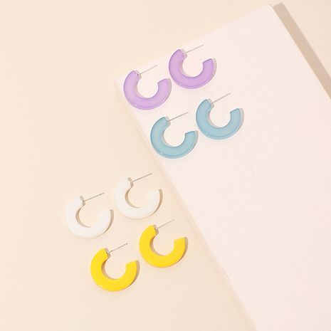 Moda color caramelo moda coreana nuevo nicho simple pendientes en forma de C NHRN238322's discount tags