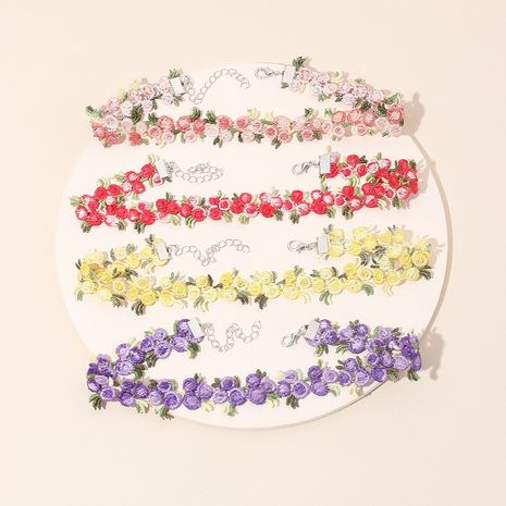 Retro lace tie flower collar choker short clavicle necklace wholesale nihaojewelry NHRN238331's discount tags
