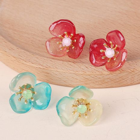 Korea simple ear accessories simple flower fairy earrings gradient resin earrings for women wholesale nihaojewelry NHRN238339's discount tags
