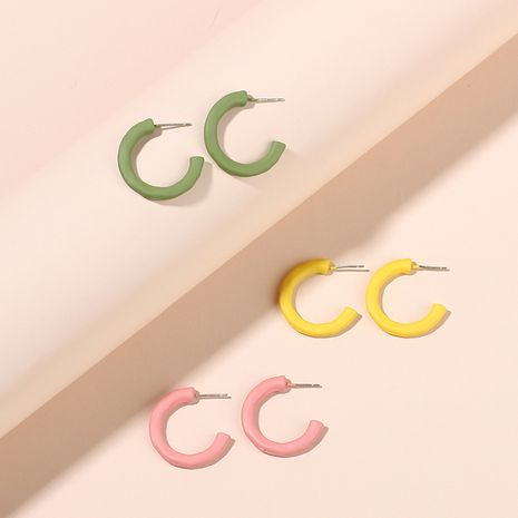 Fashion C-shaped simple girl childlike candy color women's fashion circle earrings  nihaojewelry NHRN238347's discount tags