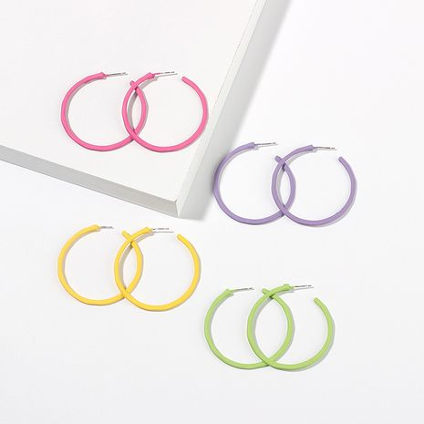 Fashion simple  geometric big circle earrings candy color girls round  alloy earrings nihaojewelry NHRN238348's discount tags