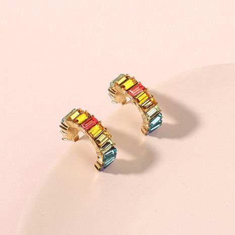 Korean  rainbow  simple semicircular C-shaped zircon  earrings nihaojewelry wholesale  NHRN238351's discount tags