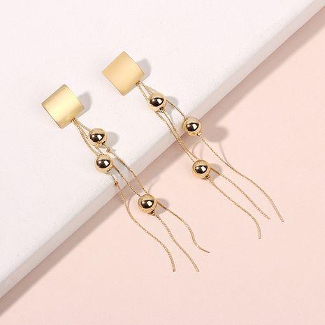 Fashion long metal tassel earrings new fashion lady fashion round bead earrings wholesale nihaojewelry NHRN238353's discount tags