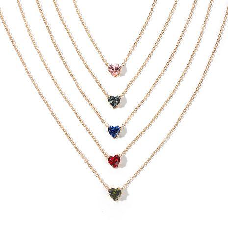 nouveaux produits chaîne en alliage simple cristal collier couleur mode en forme de coeur zircon clavicule chaîne en gros nihaojewelry NHRN238354's discount tags