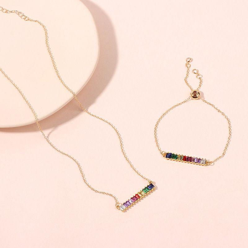 Arcenciel Bracelet Collier Lady Diamant Ensemble de Bijoux Collier Exquis Rtro Choker Clavicule Chane en gros nihaojewelry NHRN238357