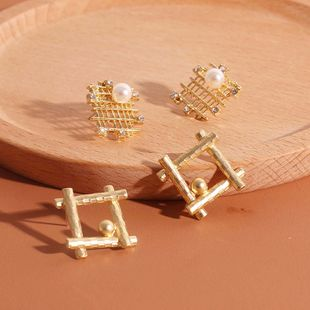 Retro  square fashion pearl alloy earrings wild mesh hollow rhinestone earrings  nihaojewelry wholesale  NHRN238368's discount tags