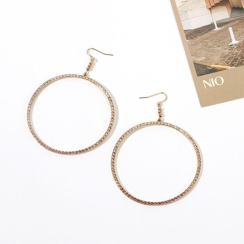 Fashion geometric big circle  niche rhinestone  retro alloy earrings nihaojewelry NHRN238378
