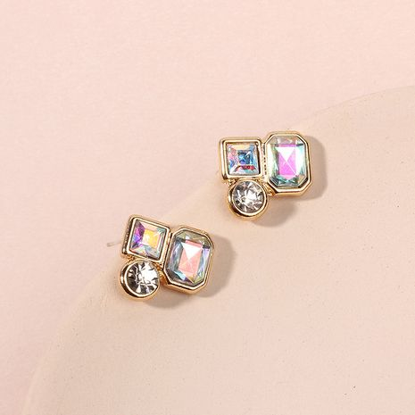 New ladies fashion zircon  alloy golden simple all-match earrings  Wholesale nihaojewelry NHRN238381's discount tags