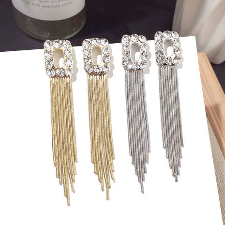 new tassel diamond earring silver pin wholesale nihaojewelry NHFT238385's discount tags