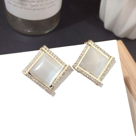 New square crystal Earring Silver Needle wholesale nihaojewelry NHFT238389's discount tags
