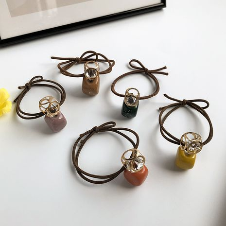 Korean geometric hollow diamond-studded rubber band hair rope for women color wild small square head rope hair ring jewelry nihaojewelry NHWF238060's discount tags
