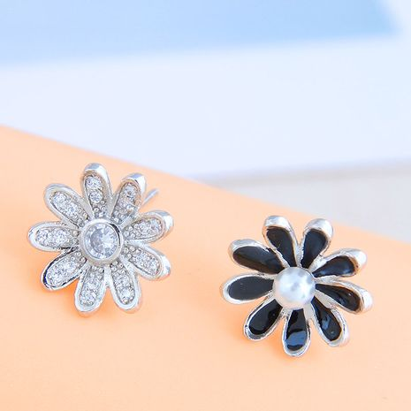 Korean Fashion Sweet Sparkling Diamond Daisy Stud copper earrings nihaojewelry NHSC238435's discount tags