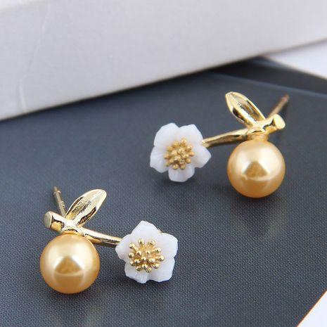 Korean fashion sweet OL wild pearl flower copper earrings nihaojewelry NHSC238434's discount tags