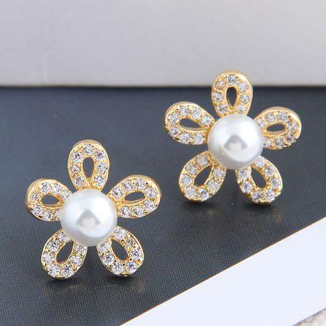 Boucles d'oreilles à fleurs en zirconium micro-incrusté de cuivre à la mode coréenne NHSC238430's discount tags