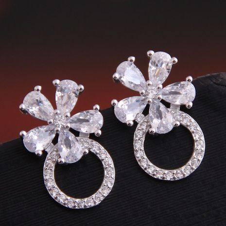 Exquisite Korean fashion earrings sweet inlaid zirconium flower simple earrings copper earrings wholesale nihaojewelry NHSC238428's discount tags