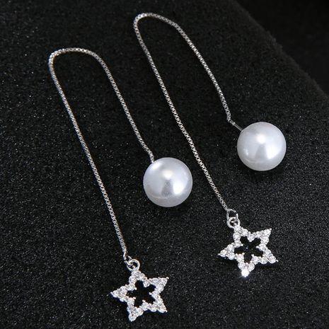 Mode coréenne boucles d'oreilles douces all-match zirconium clignotant boucles d'oreilles étoiles à cinq branches boucles d'oreilles en cuivre en gros nihaojewelry NHSC238426's discount tags