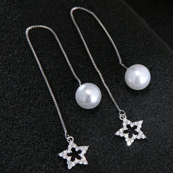 Korean fashion sweet earrings all-match flashing zirconium five-pointed star earrings copper earrings wholesale nihaojewelry NHSC238426