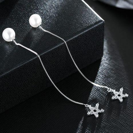 Boucles d'oreilles en cuivre étoile à cinq branches en zirconium clignotant à la mode coréenne douce all-match nihaojewelry NHSC238424's discount tags