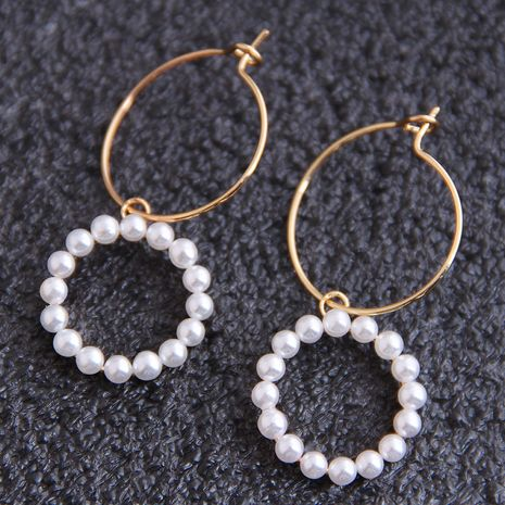 Boucles d'oreilles en cuivre de perles simples polyvalentes de la mode coréenne en gros nihaojewelry NHSC238420's discount tags